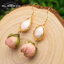 Купить с кэшбэком GLSEEVO Natural Fresh Water Baroque Pearl Dangle Earrings For Women Flower Drop Earrings Wedding Gifts Fine Jewellery GE0492