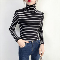 Korean Version Of The Conventional Female Black And White Striped Turtleneck Sweater Tight Sweater Piles Collar