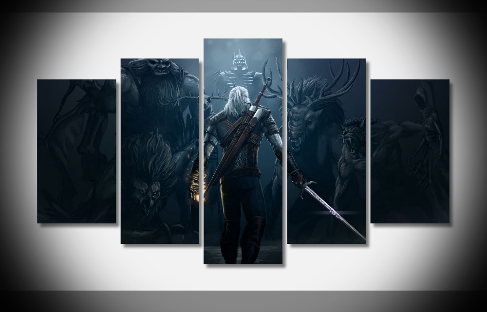 the witcher 3 picture 5 piece wall art print canvas painting wild hunt decor poster canvas no. Black Bedroom Furniture Sets. Home Design Ideas