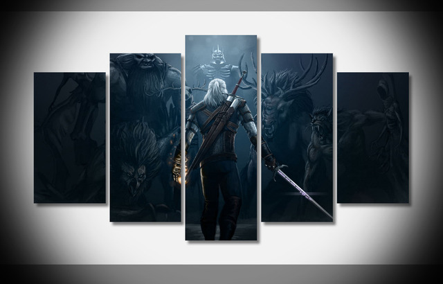 The witcher 3 picture 5 piece wall art print canvas painting wild hunt decor poster canvas
