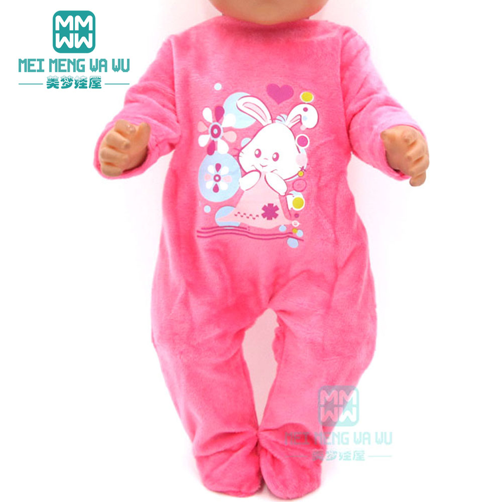 Clothes For Doll Fits 43cm New Born Doll Accessories Fashion Cartoon Baby Onesies Clothes