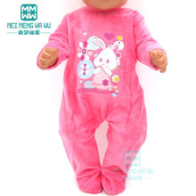 Clothes for doll fits 43cm new born doll accessories Fashion cartoon baby onesies clothes(China)