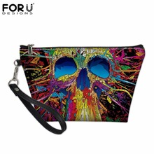 FORUDESIGNS Skull Pattern Professional Women Cosmetic Makeup Bags Small Girls Storage Make Up Bags Travel Ladies Organizer Pouch