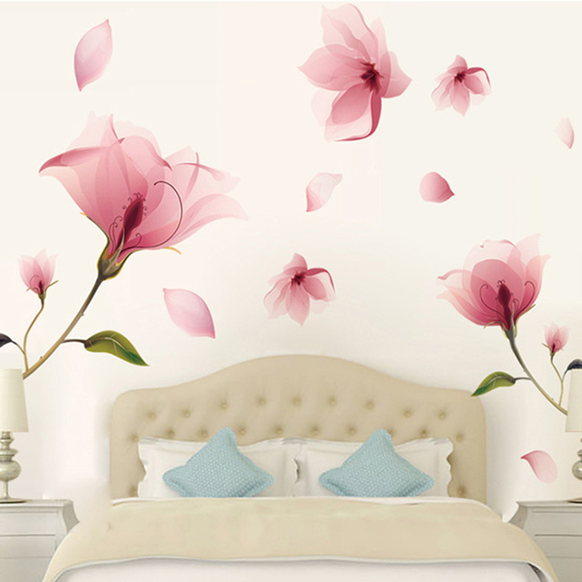 removable pink petal flower wall sticker art decoration hotel home room living room bedroom decor diy
