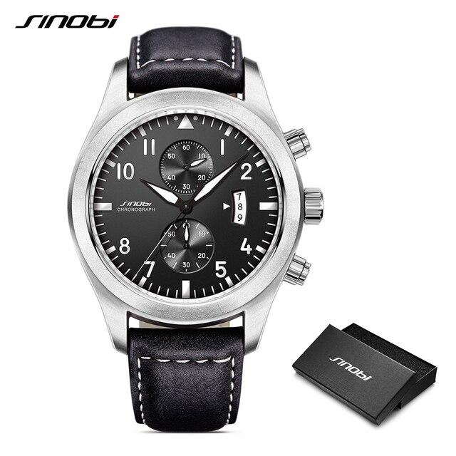 SINOBI Mens Black Leather Watches Men Chronograph Geneva Function Quartz Wristwatches Classic big Dial Clock Relogio Masculino