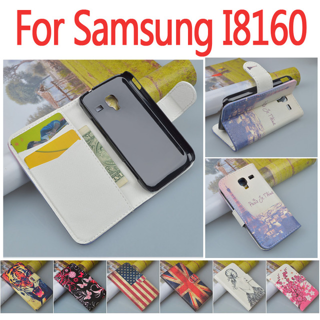 Fashion Printing Pattern PU Leather Case For Samsung Galaxy Ace 2 i8160 8160 Gt-i8160 Cover Flip Wallet Stand with Card Holder