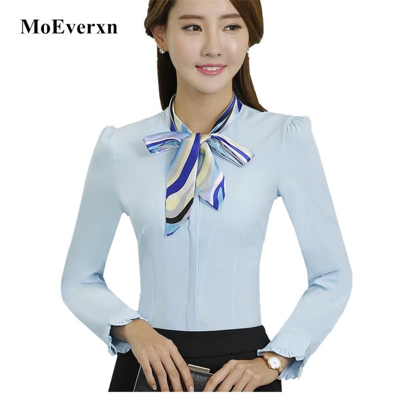 Women Scarf Bow Tie Long Sleeve Office Blouse 2017 Elegant OL Fall Spring Formal Slim Chiffon Shirt Ladies Plus Size Formal Tops