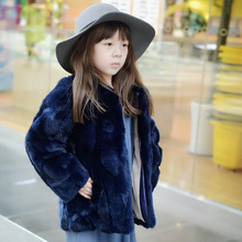 Top quality Princess coat Girls Fall and Winter Coat Kids Really 100% Rabbit Fur Grass Coat,Child Thick Plush