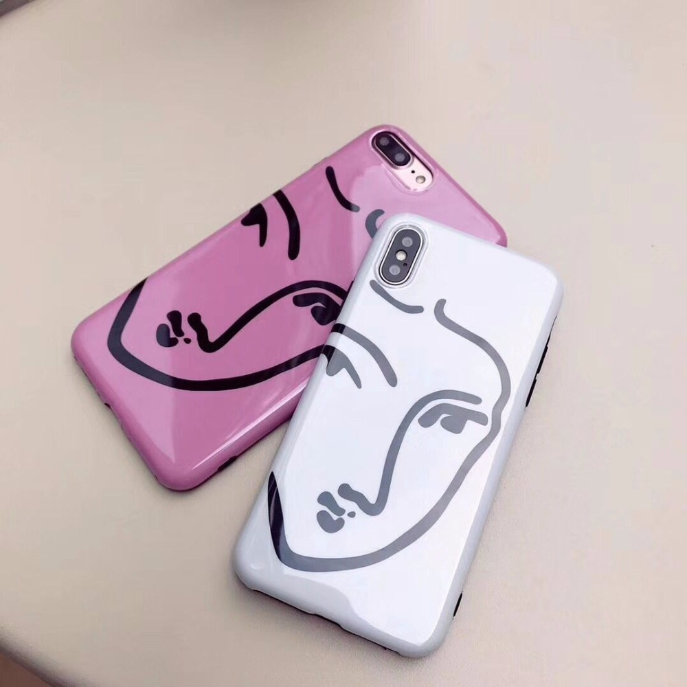 Geometric Face Lines Drawing Soft Silicone Glossy Mobile Phone Cases For iPhoneX Bright Fashion Protective Shell Back Covers Bag