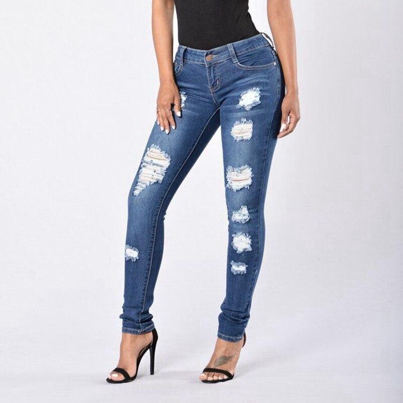 CFYH Blue Mid Waist Pencil Ripped Jeans Woman Stretch Skinny Vintage Denim Pants Boyfriend Elastic Trousers Female