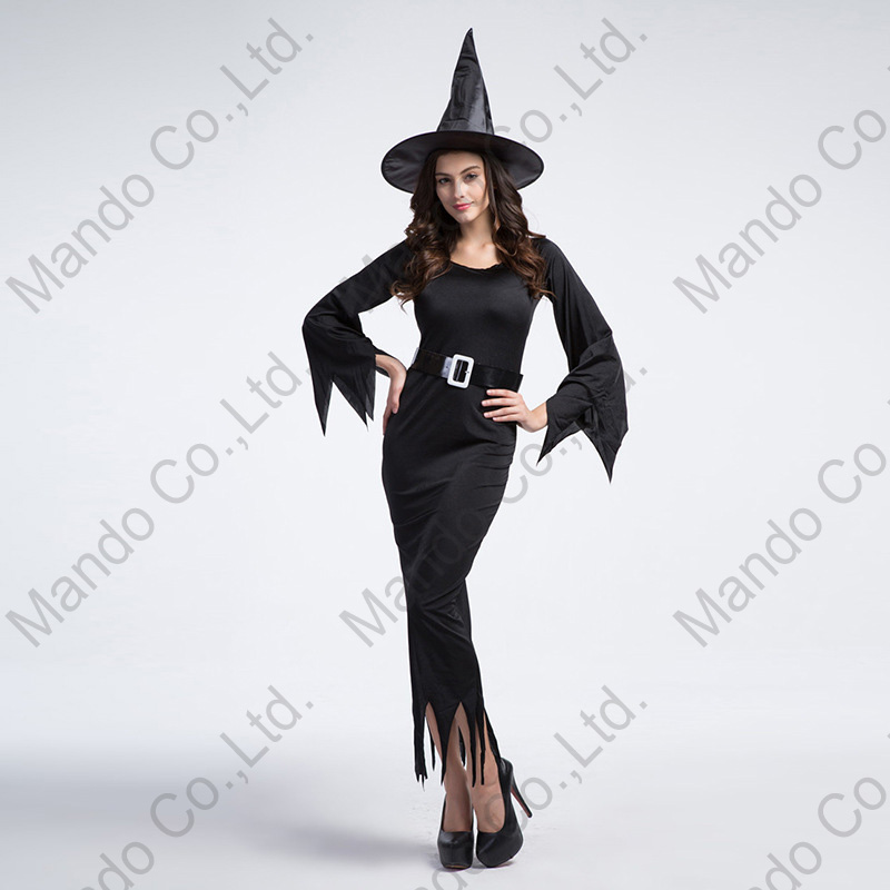 Women Sexy black witch Ladies Fancy Dress Cosplay Costume Halloween Outfit 3pcs