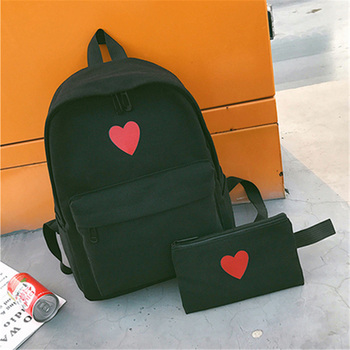 2 Pcs/Set Korean Women Backpack Canvas Love Heart Printed Lady Travel Bag Girls Students Pencil Case School Bags 88 Best
