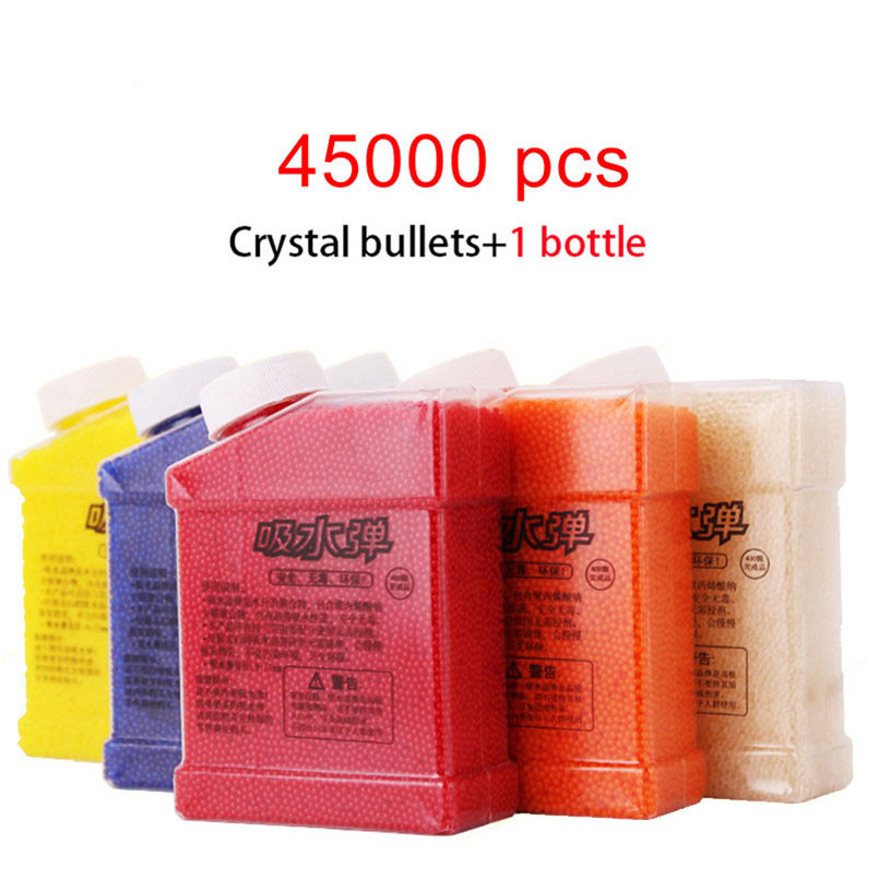 1 Bottle & 45000 Pcs Paintball Water Bullets Toy Gun Soft Crystal Bullet Mud Soil Toys For Boys Kids Gun Accessories Gifts