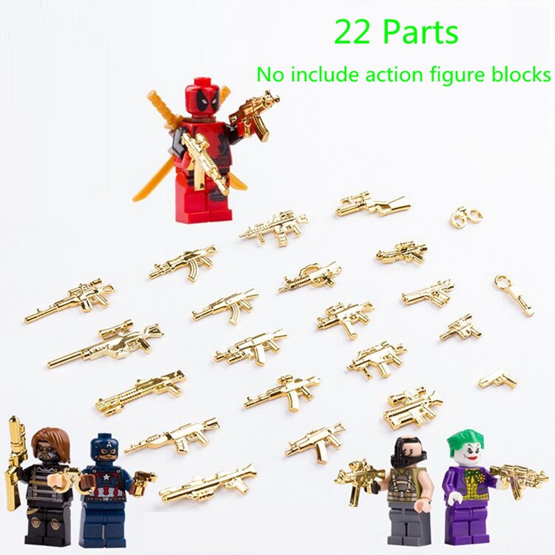 moc Military Weapon Building Blocks SWAT World War 2 WW2 Army Police Soldiers Gold AK Weapon