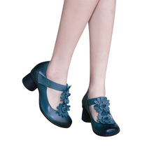 Xiangban women heels shoes genuine leather fashion thick heel elegant summer casual pumps shoes