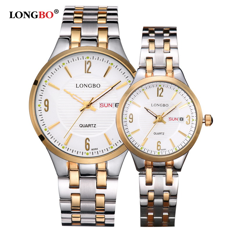 LONGBO Luxury Brand Fashion Stainless Steel Couple Quartz Watches Men Women Lovers Wristwatch With Calendar Relogio Masculino onlyou lovers stainless steel watches couple luxury fashion business men quartz waterproof watch women with calendar watches