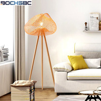 BOCHSBC Bamboo Hand Knitted Lampshade Floor Light North European Creative Simple 3 foot Floor Lamps for Living Room Tea Room