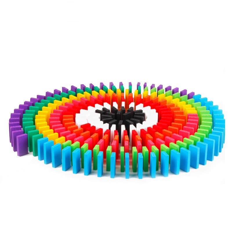 100/300/500 pièces enfants couleur tri arc-en-ciel bois Domino blocs Kits début lumineux dominos jeux jouets éducatifs pour enfant cadeau