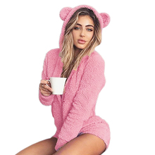 New Fleece Hooded Bodysuit Winter Long Sleeve Solid Autumn Rompers Fuzzy Casual Sweet Girls Kawaii Playsuits