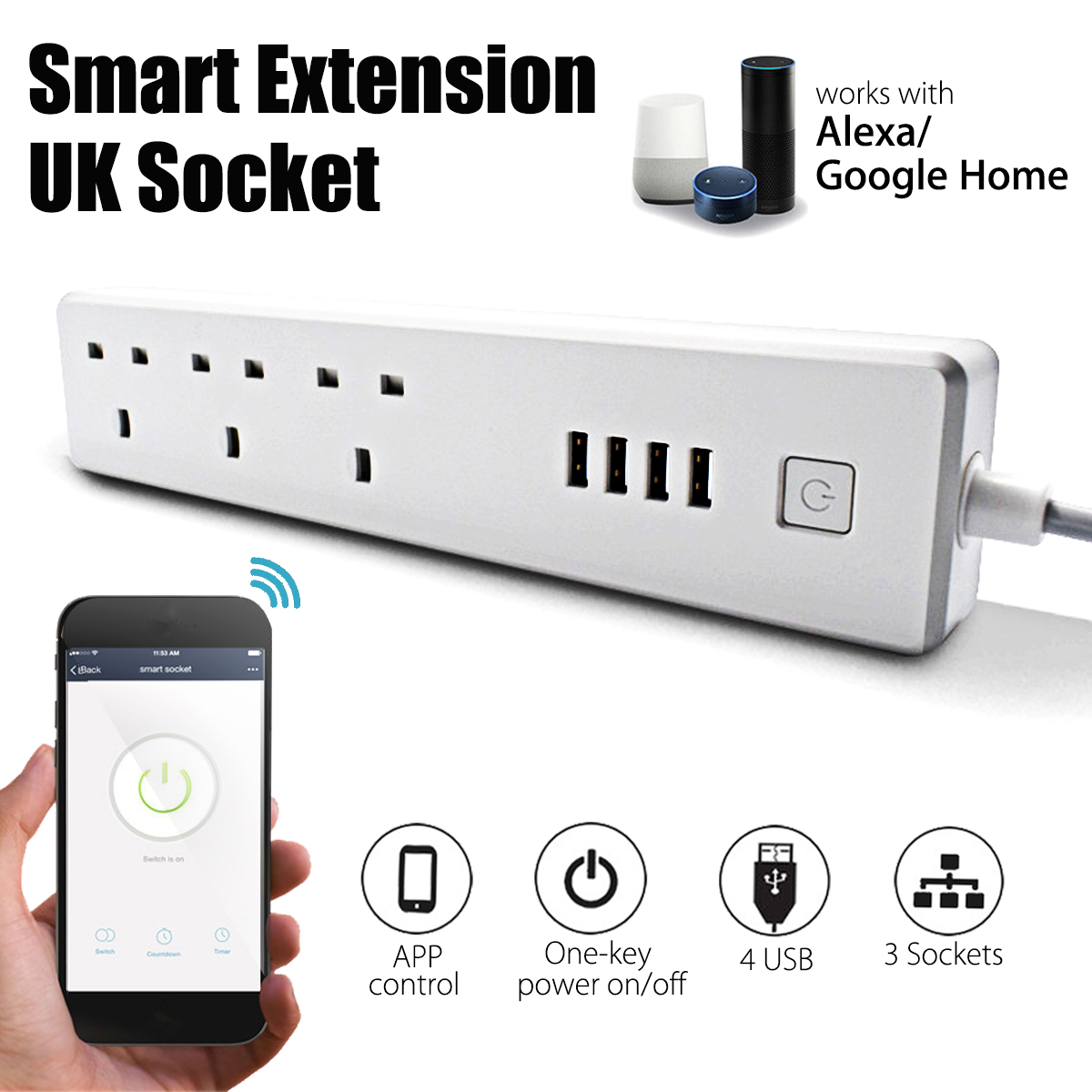 Kinco Smart Wifi Power Extension Lead UK Outlet Socket 4 USB Charging Ports For Alexa Voice Control Smart Home
