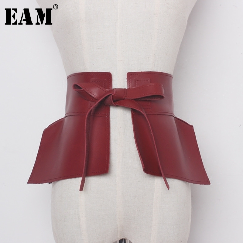 [EAM] 2019 New Spring Solid Color Black Red Pu Leather Bow Belt Women Fashion Tide All-match JC60601