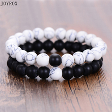 JOYROX 2Pcs/Set Classic Couples Bracelet Vintage White&Black Natural Stone Yin Yang Beaded Bracelets Jewelry For Men Women
