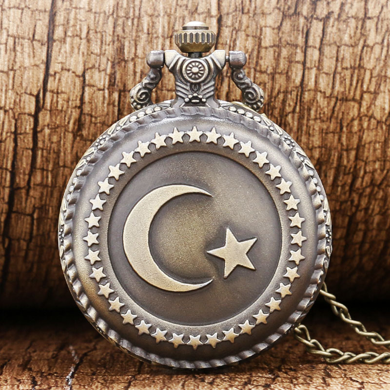 Bronze Turkey Flag Design Moon Star Circle  Quartz Antique Pocket Watch for Men and Women Free Shipping bronze quartz pocket watch old antique superman design high quality with necklace chain for gift item free shipping