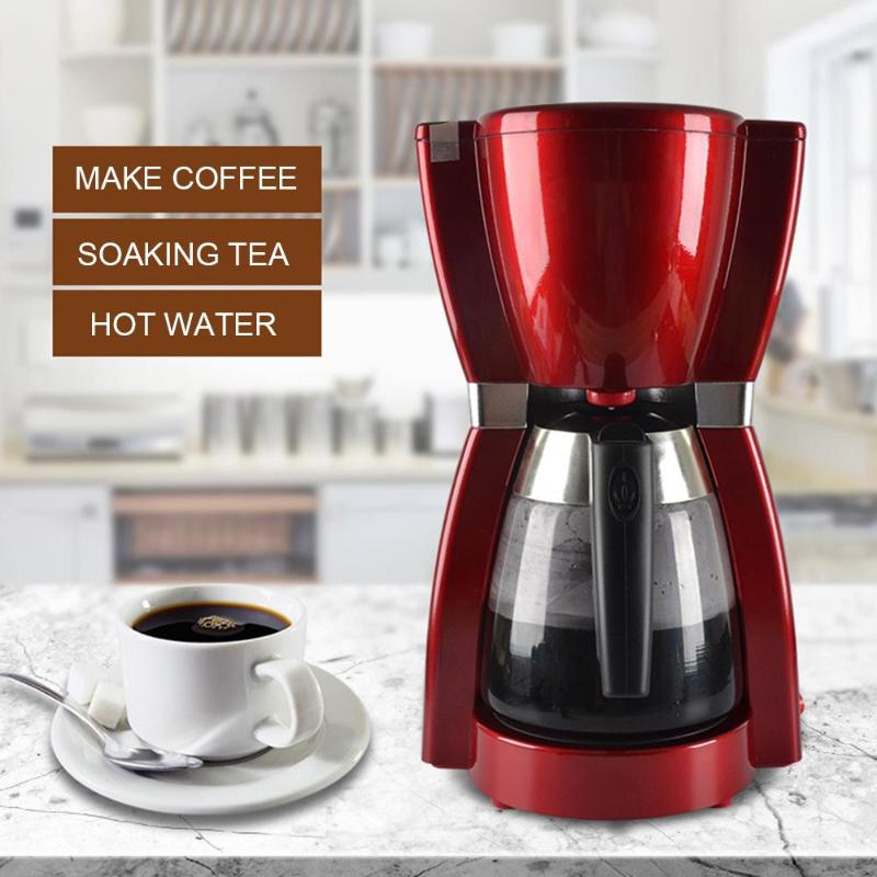 1800ml Automatic Electric Coffee Maker Household Drip Coffee Maker Machine Stainless Steel Cafe American Tea Kettle 220-240V 220v commercial smart cafe machine hong kong style black tea machine stainless steel american coffee machine tea water machine