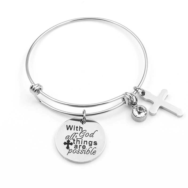 VILLWICE Cross Charm Bracelet Bangle Stainless Steel Bracelet Engraved 'with god all things are possible' Christian Jewelry Gift