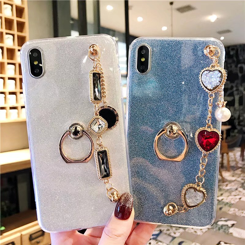 Bling Sparkle Diamond Pearl Bracelet Phone Case Soft Ring Stand For Samsung Galaxy S10 5G S8 S9 J4 J6 J7 A6 A8 J8 image