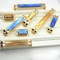 Estilo de luxo Europa Cristal Cômoda Ferragem Do Armário de Cozinha Maçaneta Da Porta Do Armário Puxador de Gaveta Punho Do Ouro Azul