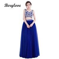 BeryLove Deux Pièces Robe de Soirée 2018 Longue Bleu Royal Tulle Robes De Soirée Avec Cristaux Robes De Soirée Pour Les Femmes Parti Robe