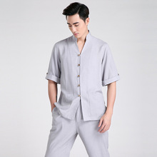 Summer New Fashion Gray Chinese Men's Linen Classic Kung Fu Shirt Chinese Button Costume Tang Suit Size S M L XL XXL XXXL 2603