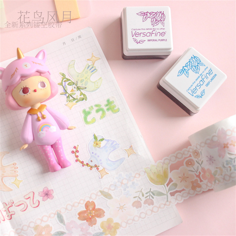 Flower Blossom Series Kawaii Color Washi Masking Tape Release Paper Stickers Scrapbooking Stationery Decorative Tape