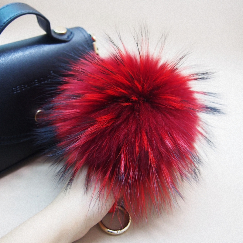 16cm Luxury Fluffy Real Raccoon Fur Ball PomPom Plush Size Genuine Fur Keychain Metal Ring Pendant Bag Charm K042-red