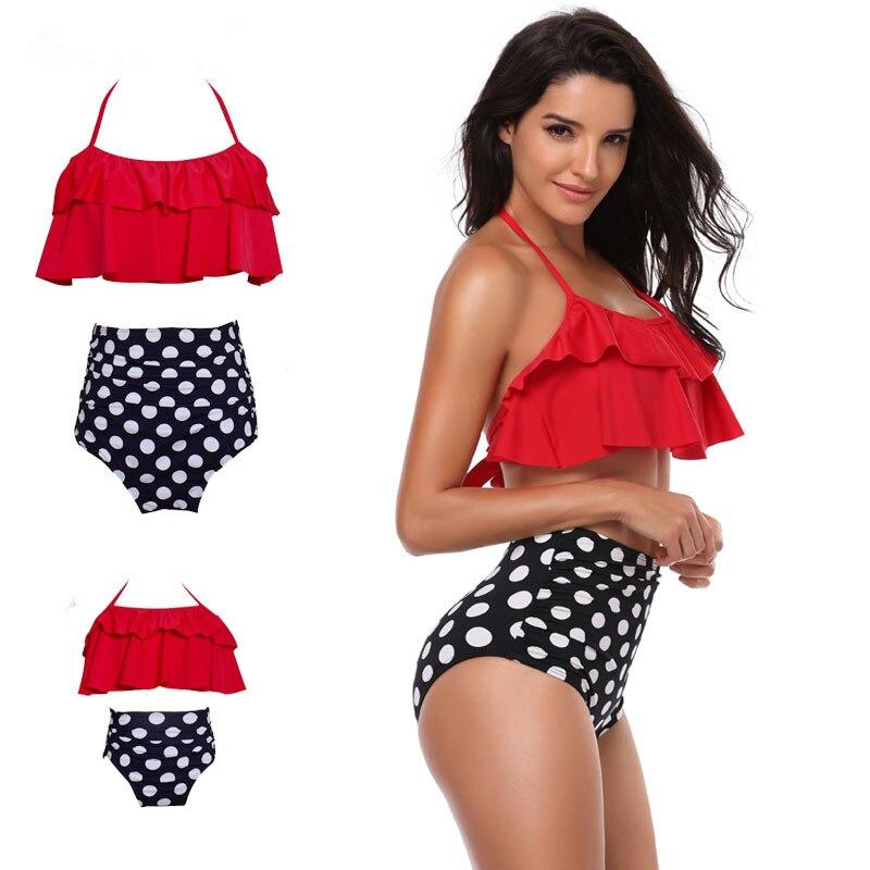 Mother Girl Swimming Clothing Women Beach Bikini Bathing Swimsuit Family Matching Swimwear Daughter Beachwear DS29