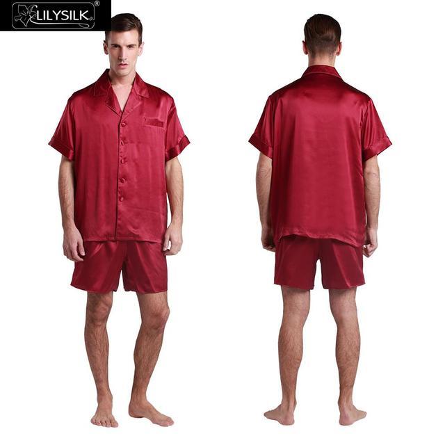Traje de Pijama de Seda Lilysilk Hogar Junta Hombres Shorts Boxer Yukata Diseñador Masculino Rojo 22mm ropa de Dormir de Invierno Hombre Piel Alérgica