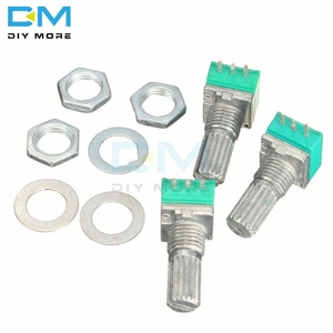 10PCS 6mm 3 pin 3P Knurled Shaft Single Linear B Type 5K 10K B20K B50K B100K B500K ohm Rotary Potentiometer Knob With Cap White