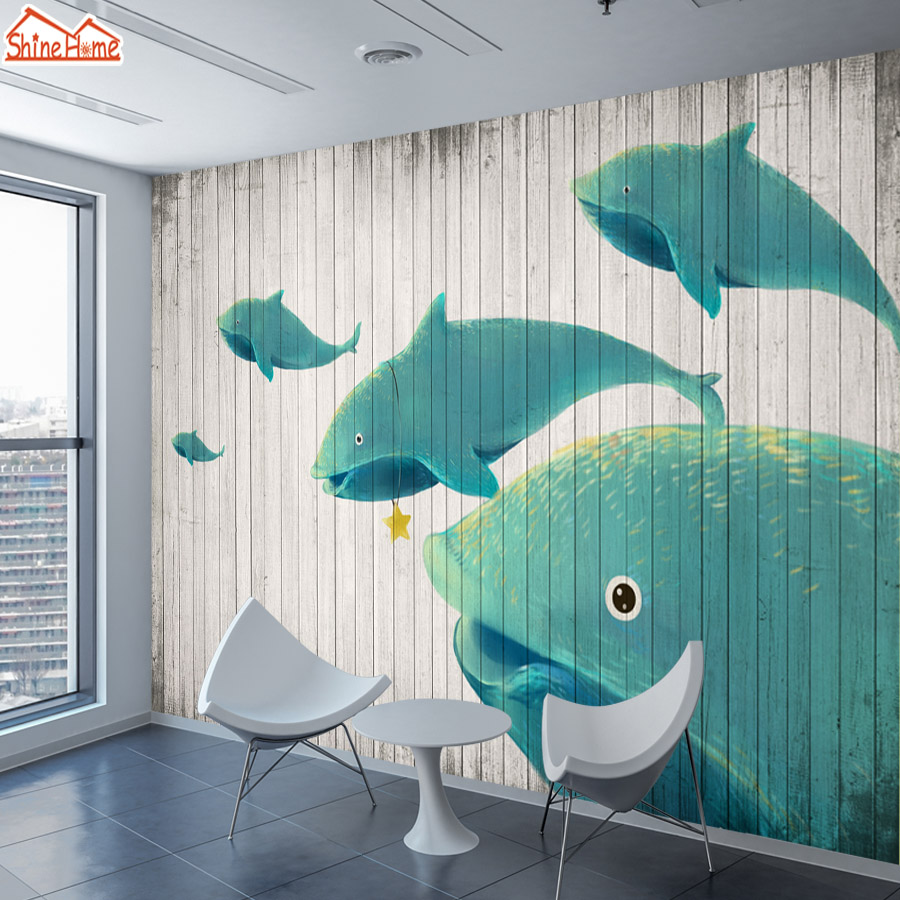 ShineHome-Customized Retro Wallpaper Wood Board Dolphin Wall Murals Paper Picture Wallpapers for 3d Kids Living Room Bedroom Art shinehome retro coffee tea time cafe store brick wallpaper for 3d rooms walls wallpapers for 3 d living room wall paper murals