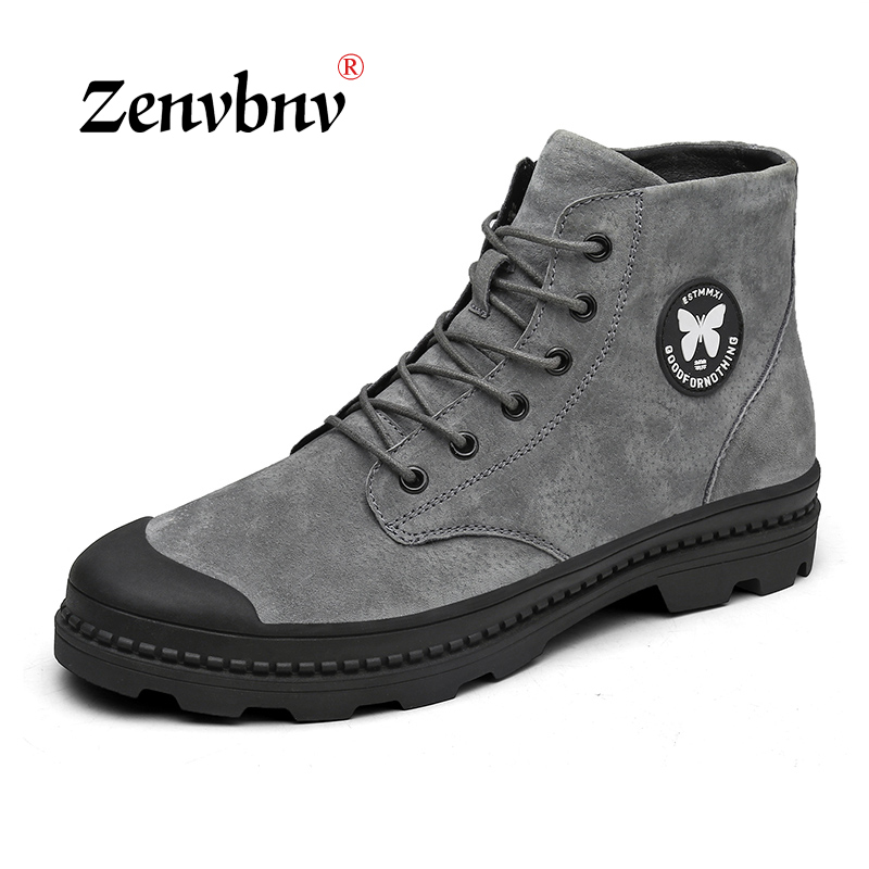 купить ZENVBNV Men Shoes Ankle Military Boots Men Cow Suede Leather Boots For Men 2018 Spring Autumn Shoes Flats casual Bota Masculina по цене 2276.56 рублей