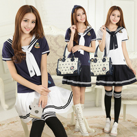 Summer girls junior high school students fitted cotton navy wind short sleeve T shirt + short skirt two suit TB123