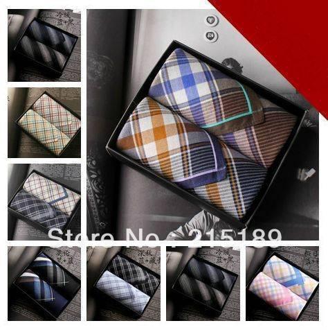Alta calidad del macho mujeres de pañuelo a cuadros 100% algodón conjunto caja de regalo mano torre mocket pañuelo