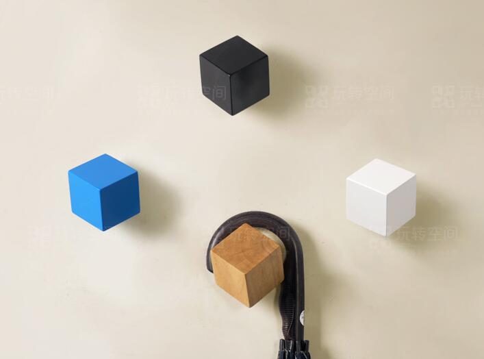 Wood Hooks Creative Home Decor Cube Square Coathook Modern Concise Style Multicolor Wall Hook House Bedroom