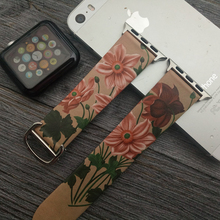 Vintage Custom Flour Printed Watch Bands for Apple Genuine Leather Wrist 38mm 40mm 42mm 44mm with Cartier