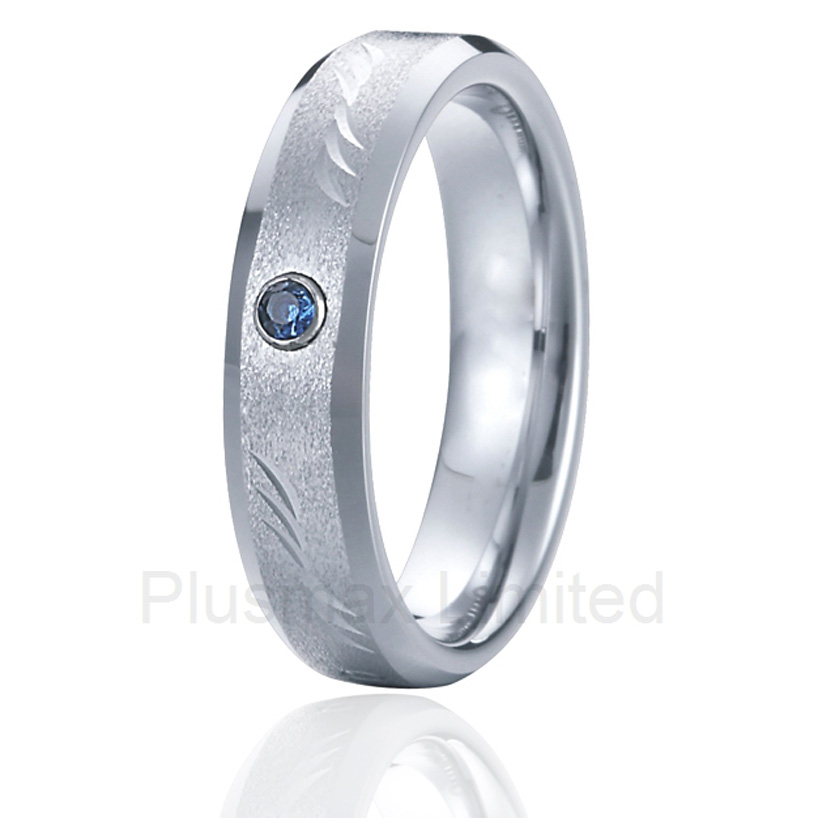 Titanium steel jewelry superb value and service engrave pattern men wedding rings with blue stone