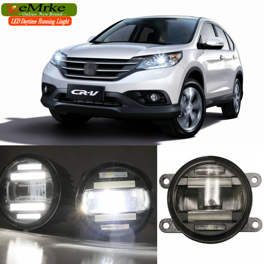 eeMrke Car Styling For Honda CR-V CRV CR V 2012-up 2 in 1 LED Fog Light Lamp DRL With Lens Daytime Running Lights eemrke car styling for opel zafira opc 2005 2011 2 in 1 led fog light lamp drl with lens daytime running lights