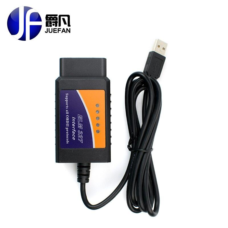 High quality ELM327 USB Plastic OBD2 Auto Diagnostic Tool Version V1 5 ELM 327 USB Interface