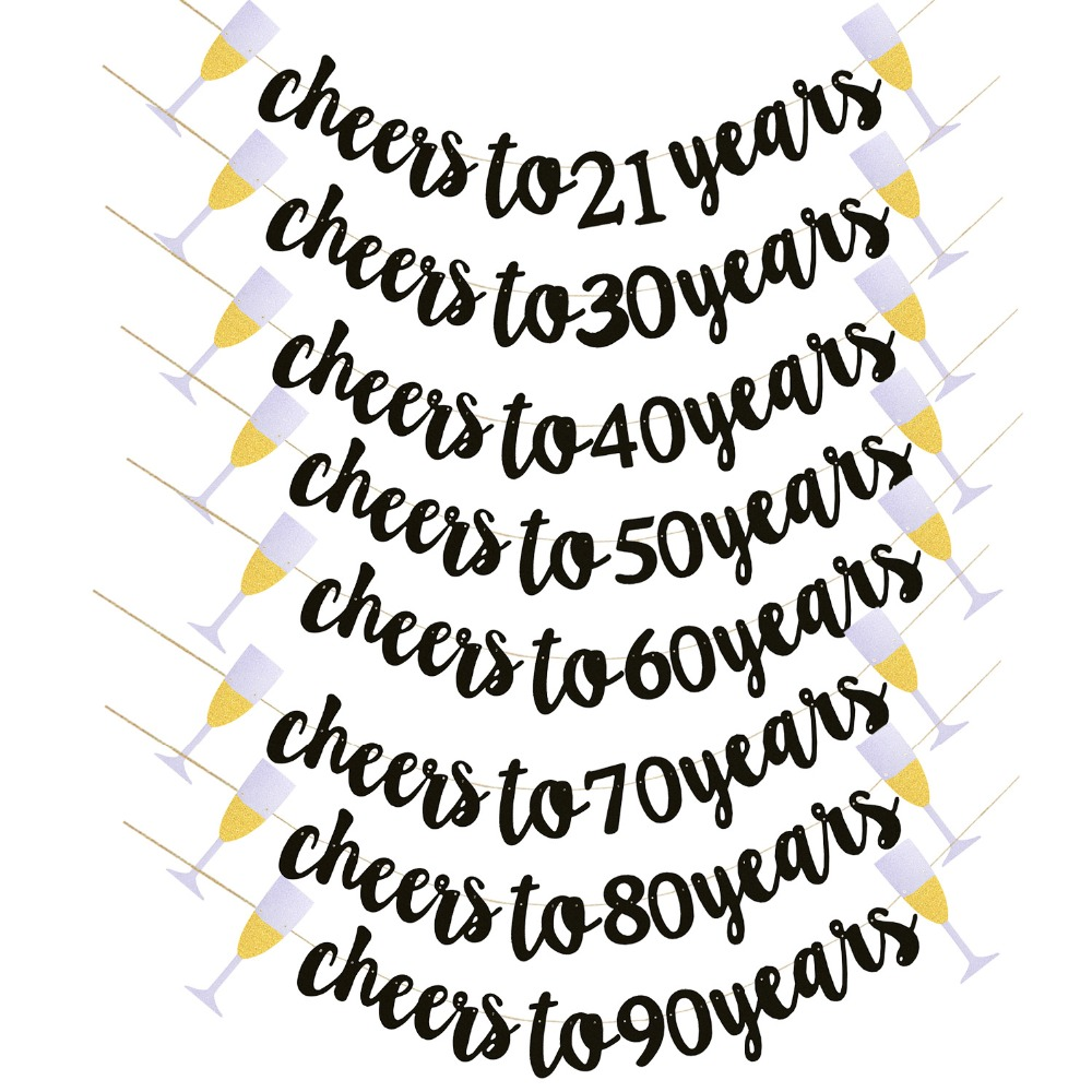 <font><b>Birthday</b></font> Party Wedding Anniversary Decoration Supplies Black Glitter Cheers To Years Banner Garland for 21th 40th 50th 60th <font><b>70th</b></font> image