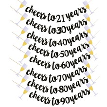 Birthday Party Wedding Anniversary Decoration Supplies Black Glitter Cheers To Years Banner Garland for 21th 40th 50th 60th 70th