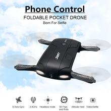 Plegable de bolsillo selfie drone con cámara quadcopter fpv wifi teléfono control quadrocopter helicóptero mini rc dron jjrc h37